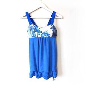 Lululemon blue & white tank top, built-in-bra,, 6